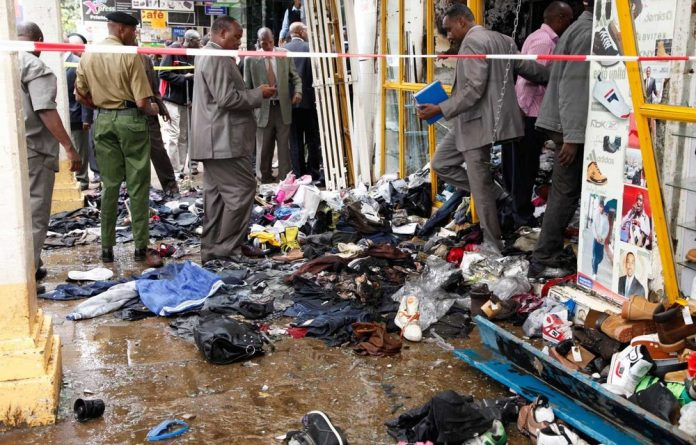 The scene of the explosion on a busy road in downtown Nairobi