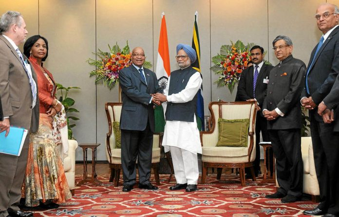President Jacob Zuma and prime minister of India Manmohan Singh shake hands after a bilateral meeting in New Delhi. Photo: AFP/HO/PIB