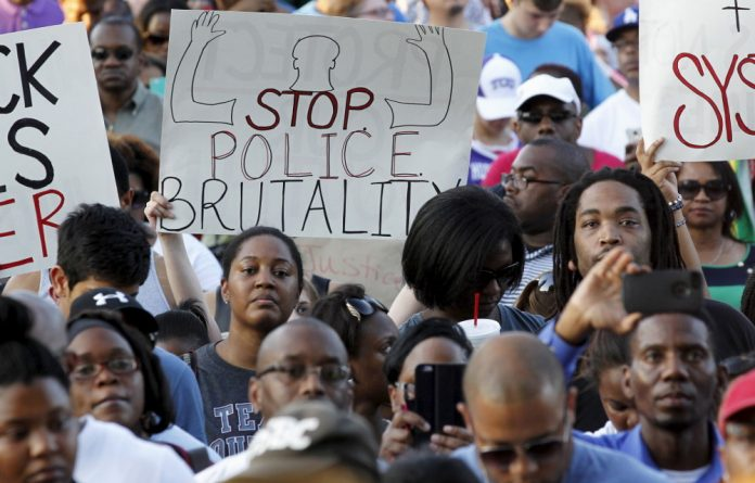 A rally calling for the firing of police officer Eric Casebolt