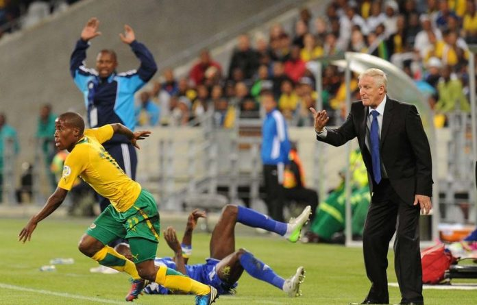 Gordon Igesund makes his feelings known during Bafana Bafana's first match against the Central African Republic.