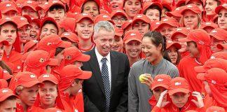 Durban-born Australian Open director Craig Tiley with 2014 women's champion Li Na and 380 ball boys and girls.
