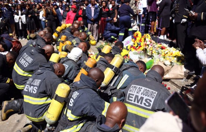 Firefighters from all over the city attended the memorial service.