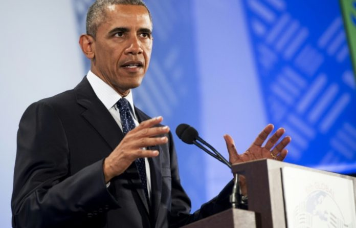 US Obama gestures while giving a speech during the Global Entrepreneurship Summit at the United Nations Compound in Nairobi on July 25 2015.