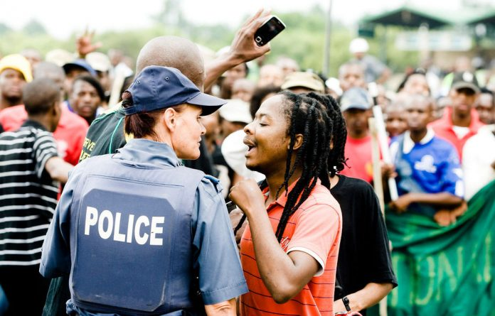 Students protest at the Tshwane University of Technology.