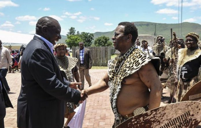 King Goodwill Zwelithini greets President Cyril Ramaphosa in Nongoma earlier this year.
