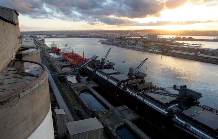 Grain is loaded aboard ships for export in Durban