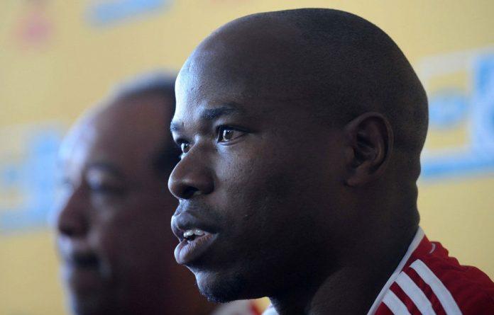 Collins Mbesuma during the Orlando Pirates training session.