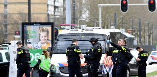 Police on the scene after a gunman opened fire on a tram in Utrecht.