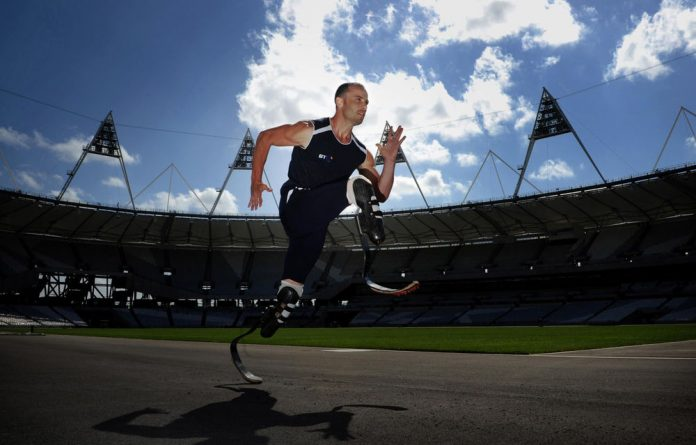 Oscar Pistorius at the Olympic Park in London.