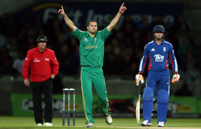 Wayne Parnell celebrates the wicket of England's Michael Lumb.