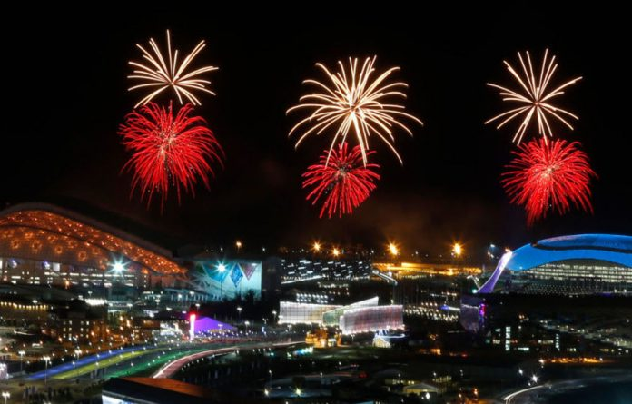 Fireworks seen over the Olympic Park during the rehearsal of the opening ceremony at the Adler district of Sochi.