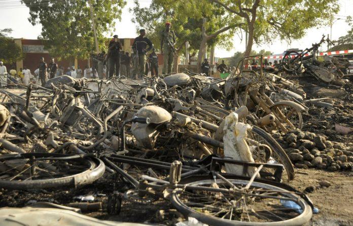 Wreckage scene of multiple bombings in Nigeria.