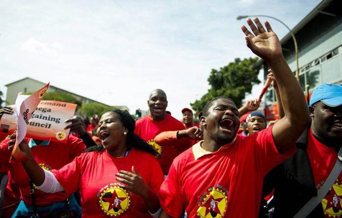 Numsa workers participating in a work stoppage that began last Monday.