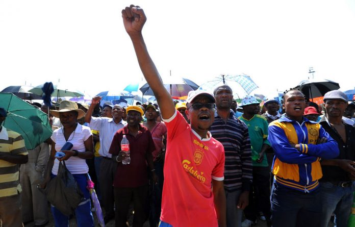Some of the 12 000 miners sacked by Anglo American Platinum