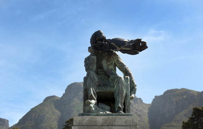 The statue of Cecil Rhodes which stood at UCT.