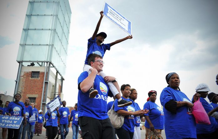 DA demonstrators at a march at Constitutional Hill in Johannesburg in March.
