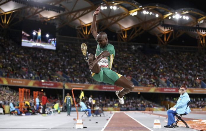 High flyer: Luvo Manyonga took gold with a long jump of 8.41m at the Commonwealth Games in Australia.