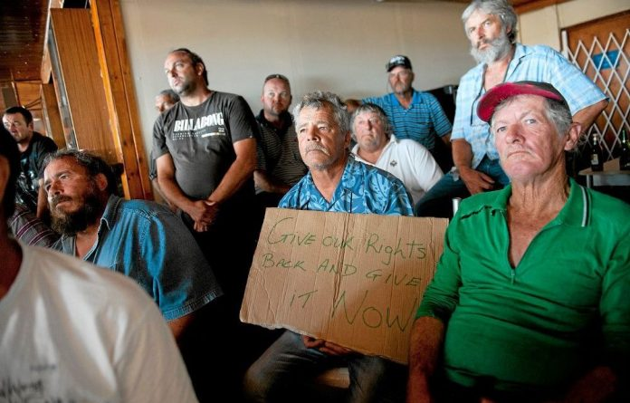 Affected fishermen at the Oceana Power Boat Club in Granger Bay in Cape Town.