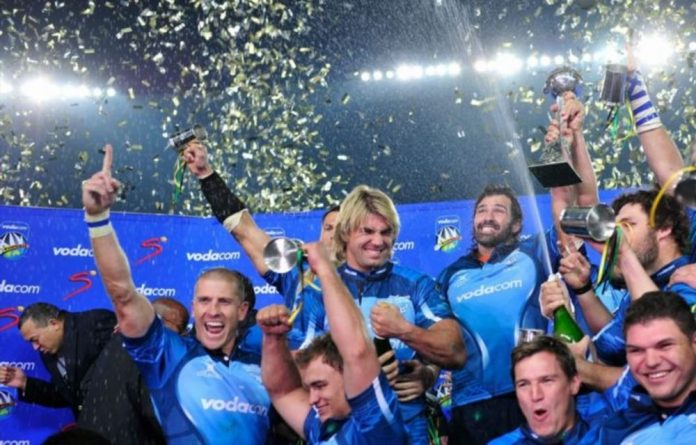 The Vodacom Bulls celebrate after winning the Super 14 final against the Stormers in 2010.
