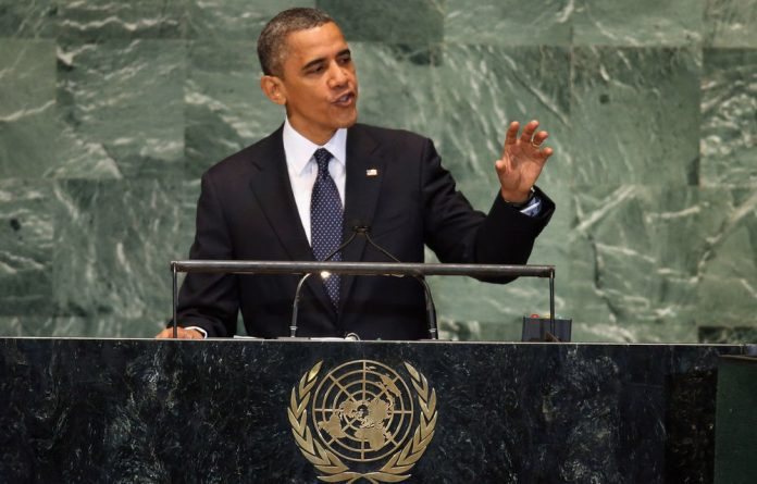 US President Barack Obama addresses the UN General Assembly meeting in New York City.