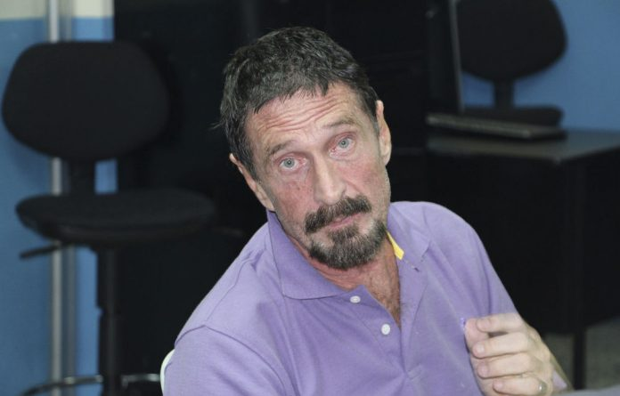 Software company founder John McAfee is pictured after being arrested for entering the country illegally on December 5 in Guatemala City.