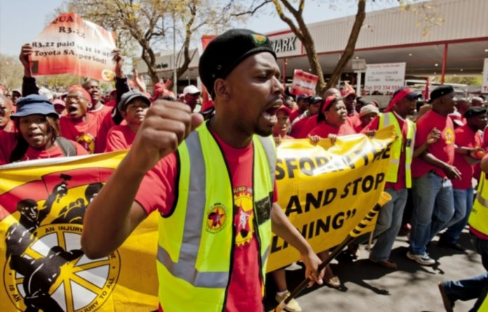 About 11 000 National Union of Metalworkers members marched to the National Association of Automobile Manufacturers of South Africa's offices in Pretoria.