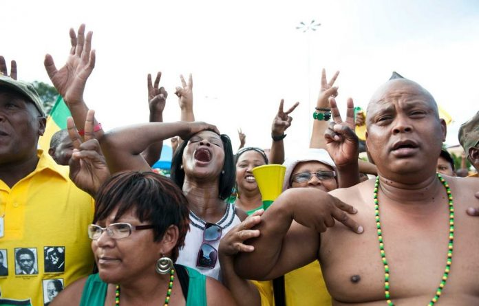 Zuma supporters celebrated his second term as president in the streets of Mangaung.