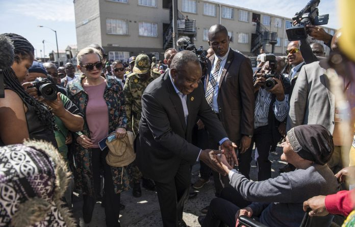 Face of the party: ANC president Cyril Ramaphosa visited Hanover Park in Cape Town last year. The party is not putting up a premier candidate to campaign in the Western Cape.