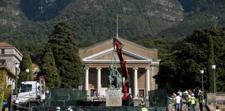 The statue of Cecil John Rhodes on the campus of the university of Cape Town
