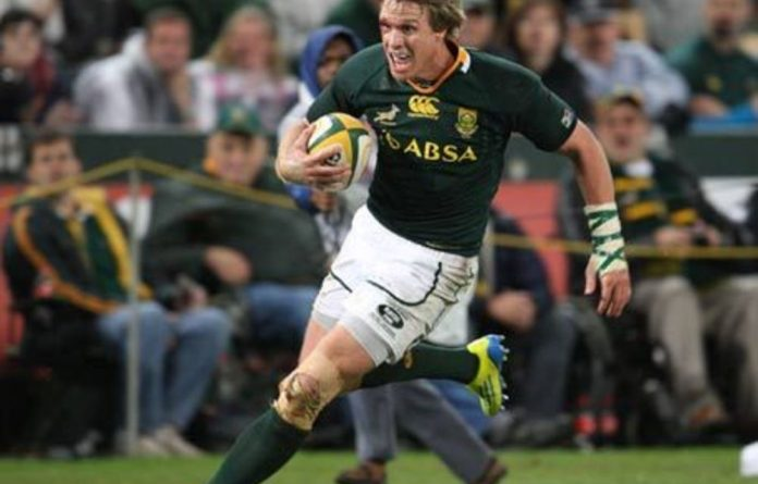 Jean de Villiers going over for a try during the first of the Incoming Tour test matches between South Africa and England.