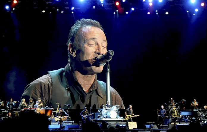 Bruce Springsteen on stage in Johannesburg.