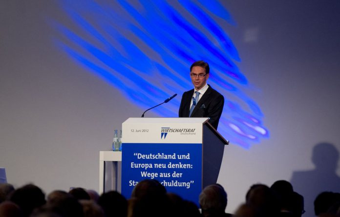 Finland's Prime Minister Jyrki Katainen gives a speech during an economy day of Germany's conservative Christian Democratic Union.