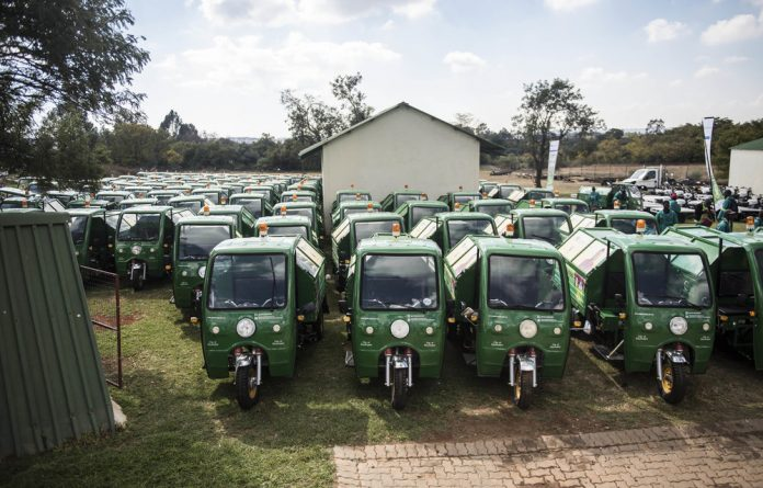 Stall: The Gauteng government presented 50 of the 200 controversial 'karikis' to waste pickers this week