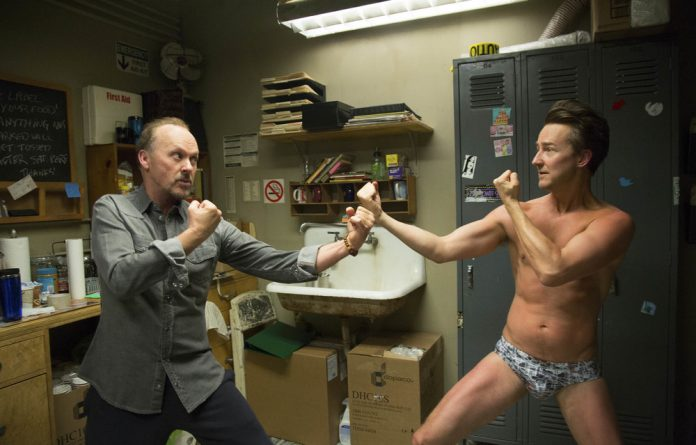 Flying high: Michael Keaton and Edward Norton in the showbiz comedy 'Birdman'.