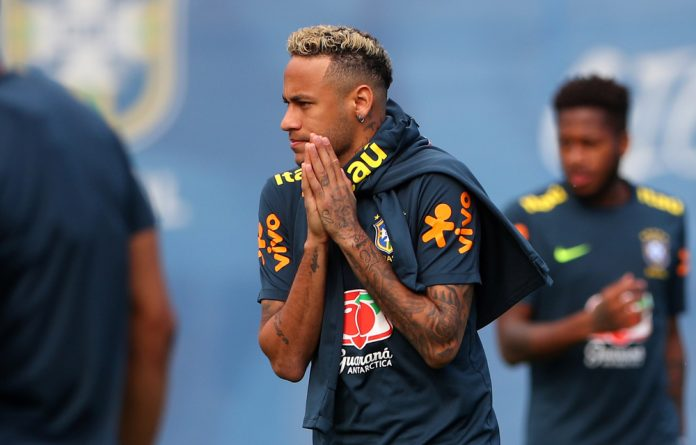 Brazil's Neymar during training