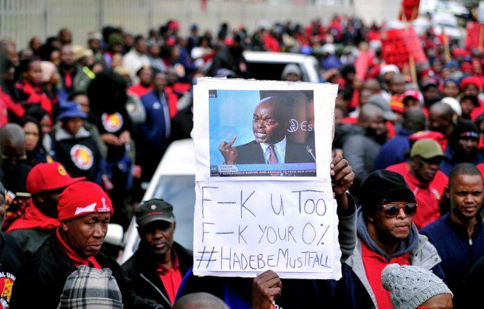 NUM members protest against Eskom's 0% wage increase proposal.