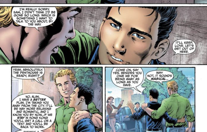 Out of the closet: Green Lantern has been reintoduced as gay.