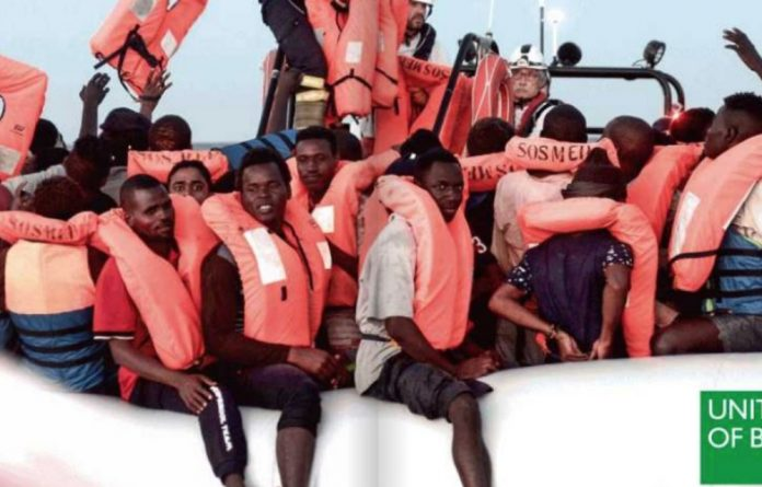Benetton published two publicity photographs on its Twitter account featuring migrants
