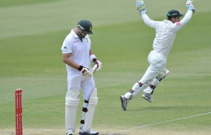 Australia's keeper Matthew Wade celebrates his dismissal of Jacques Kallis on the third day of the second cricket test match at the Adelaide Oval.