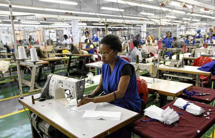 Stitching time: Garment workers at the Zenzeleni factory in Durban.