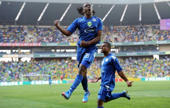 Thabo September celebrating his goal with Kermit Erasmus during the Nedbank Cup Final match between Mamelodi Sundowns and SuperSport United from Orlando Stadium.