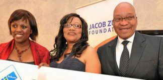 Jacob Zuma with the executive chairperson of the Jacob Zuma Foundation Dudu Myeni receives a R1-million donation from Telkom Foundation board chairperson Ouma Rasethaba.