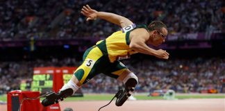 South Africa's Oscar Pistorius starts in the men's 400-metre semifinal during the athletics in the Olympic Stadium at the 2012 Summer Olympics.