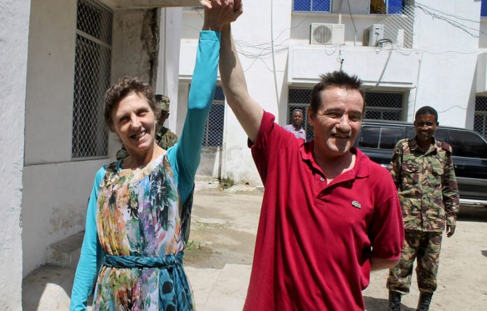 Bruno Pelizzari and Deborah Calitz a few hours after they were released by their captors in Mogadishu.
