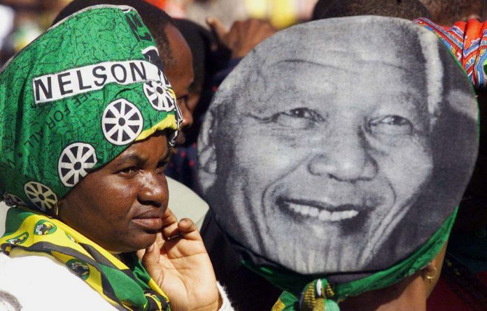 A file photograph from an ANC election rally at Kwa-Masiza Stadium near Johannesburg in 1999.