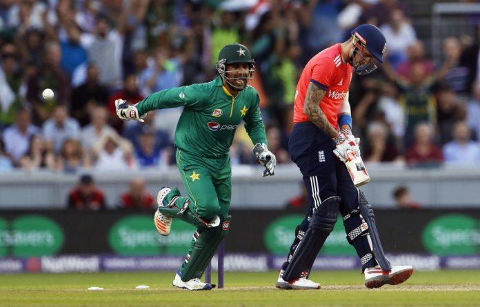 Pakistan's Safraz Ahmed celebrates after Imad Wasim bowled England's Alex Hales.