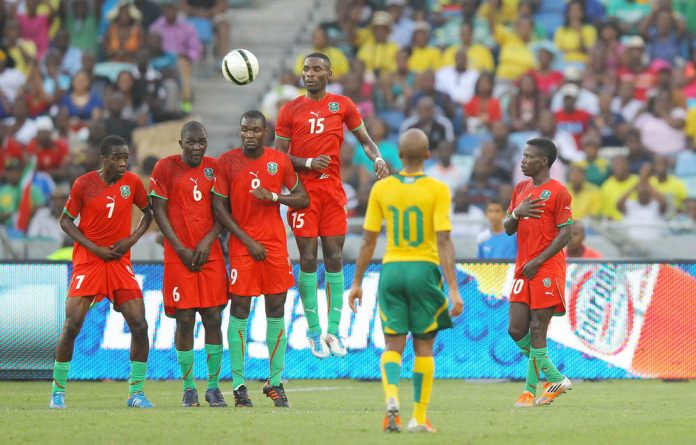 Malawi in the free kick during the international friendly match between South Africa and Malawi from Moses Mabhida Stadium in Durban.