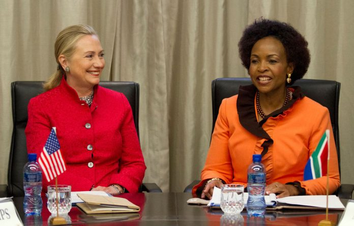 US Secretary of State Hillary Clinton meets with Foreign Affairs Minister Maite Nkoana-Mashabane at the US-South Africa Strategic Dialogue in Pretoria.