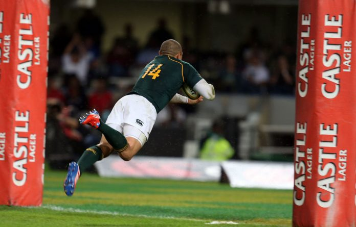 Bryan Habana dives over the line in Durban on Saturday.