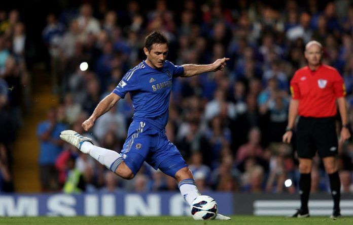 Frank Lampard of Chelsea scores the opening goal from the penalty spot during the Barclays Premier League match between Chelsea and Reading at Stamford Bridge.